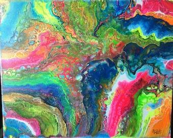 Into The Neon   16X20 Original Acrylic on Canvas