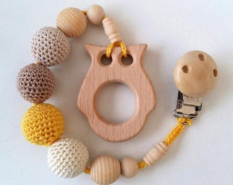Owl baby teether with clip teething wooden toy