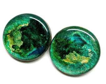 Green and Gold Buttons, Greensleeves, Set of 2 Handmade Buttons for Knitting, Crochet, Fibre Arts