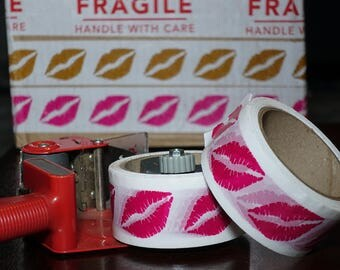 Hot Pink Lips Tape 2 in. x 55 yds | White Packing Tape with Hot Pink Lips | Lip Kit Packaging