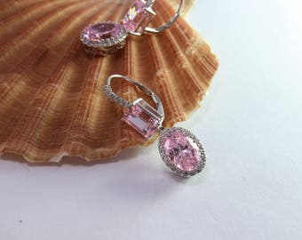 Rose Quartz, 925 Sterling Silver and Cubic Zirconia