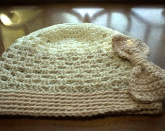 Crocheted Beanie with removable Crocheted Hair Bow