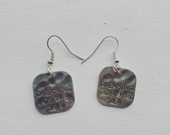 Dreaming of the sea hand stamped dangle earrings