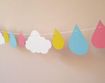 Cloud and raindrop garland for a baby shower, birthday, nursery, kids room, classroom, teacher