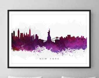 New York Skyline, NYC Cityscape, Art Print, Wall Art, Watercolor, Watercolour Art Decor [SWNYC08]