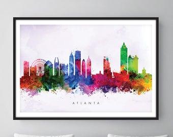 Atlanta Skyline, Atlanta Georgia Cityscape Art Print, Wall Art, Watercolor, Watercolour Art Decor