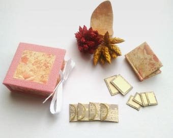 Miniature Stationery Set with Notebook, Envelopes, Notecards and Matching Dropspine Box / Handmade and Handbound / Dollhouse accesories