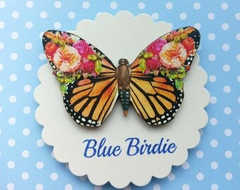 Butterfly brooch orange flower butterfly pin brooch gifts for her butterfly jewlery insect jewelry nature jewelry butterfly brooch pin