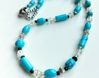 Unique turquoise beaded necklace mixed bead jewelry turquoise handmade jewellery gift chunky turquoise necklace blue black 20 inch necklace