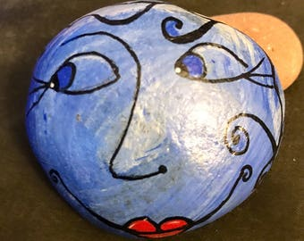Whimsy Blue Moon Painted Rock, Paperweight, Collectible & Decor