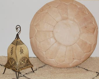 natural leather pouf,moroccan handcrafted leather pouf, ottoman leather pouf
