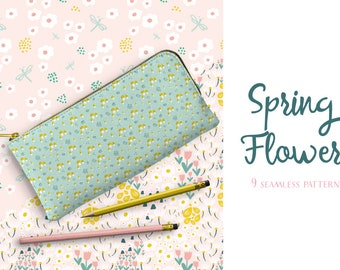 Spring Flowers Patterns Vector