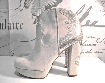 Western Women's Suede High Heel Platform Boots Size 9,5us/7uk/41eu