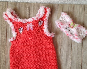 Crochet Newborn baby girl jumper, coral summer romper with matching headband, baby clothes, Summer baby clothes
