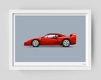 Ferrari F40 limited edition art poster
