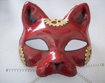 Red Steampunk Cat Masquerade Mask