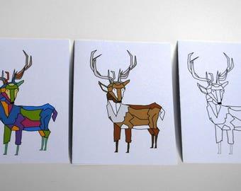 Geometric Deer - Set of 3