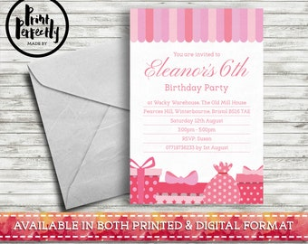 Pink Princess Stripe Presents - Luxury Childrens Customised Birthday Party Invitations (Printed & Digital)
