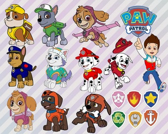 Paw Patrol Svg, Paw Patrol Clip art, Comic svg, Cartoon clipart png, Paw patrol cut files for silhouette or cricut, Paw patrol png, eps file