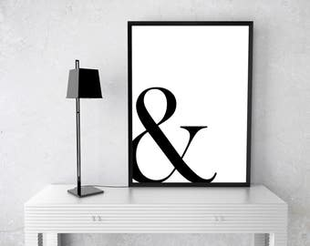 Wall Art - Instant Download - Printable Poster: Ampersand; Ampersand Poster - Home Decor - Wall Art - Minimalist Decor - Typography