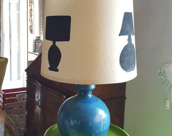 Lampshade decorated with stancil laser cut done. Lamp, lighting upcycling handmade
