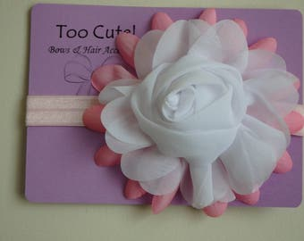 Pretty White and Pink Rose Headband