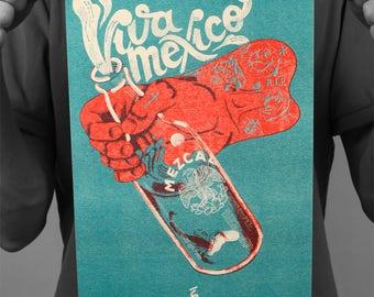 "Post mezcal ""Viva Mexico"" / poster / Risographie / print / Edwood / A4 / 21 x 29,7 cm"