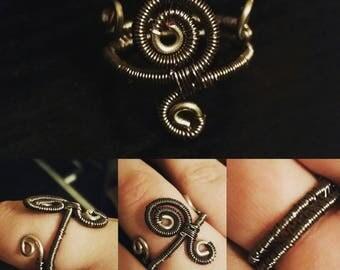 Gun Mental Woven Wire Ring