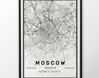 Moscow City Map Print, Modern Contemporary poster in sizes 50x70 fit for Ikea frame All city available London, New york Paris Madrid Rome
