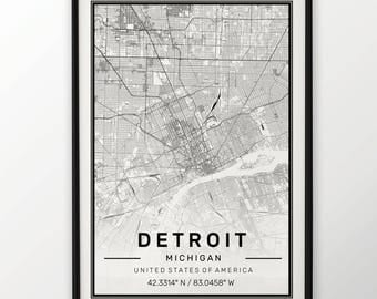 Detroit City Map Print, Modern Contemporary poster in sizes 50x70 fit for Ikea frame All city available London, New york Paris Madrid