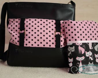 Diaper bag girl with cats diaper clutch | Diaper bag set for mother | baby girls diaper bag| black and pink diaper bag set