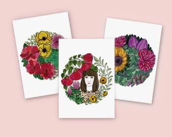 Greeting card Set / Set of postcards / Spring Collection