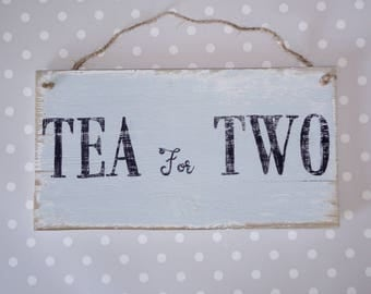 Tea for Two vintage style, shabby reclaimed wood hand-painted plaque