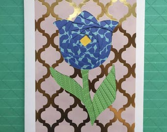 Greeting card, without text, mother, Tulip, blue, stationery, paper folding, Koszi Cards