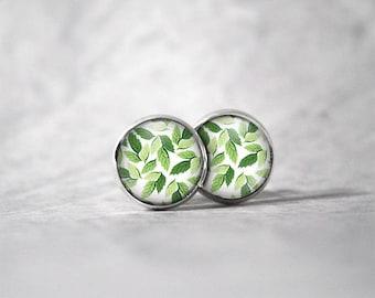 Earrings cabochon 10 mm / leaves