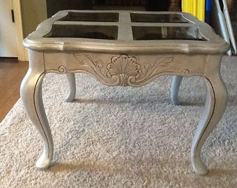Side Table, wood with beveled smoked glass inserts top