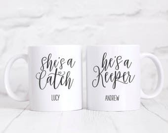 Personalised She's A Catch and He's A Keeper Mug Gift Set Gift Boxed