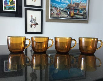 Set of 4 Vintage Vereco Demitasse Cups in Amber Glass