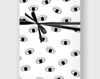 Modern Eyes Wrapping Paper, Digital Gift Wrap Sheet, Minimal Gift Wrap, Wrapping Paper, Holiday Wrap, Printable Wrapping Paper, DIGITAL FILE