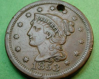 US 1853 Large Cent  Great Details (One of A Kind)   28 mm FREE Shipping In United States # ET173