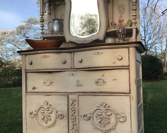 Amazing Chalk Painted Oak Sideboard and Hutch