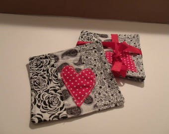 Black and White with Red Heart Coaster Set
