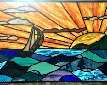 Custom sail Boat Stained Glass