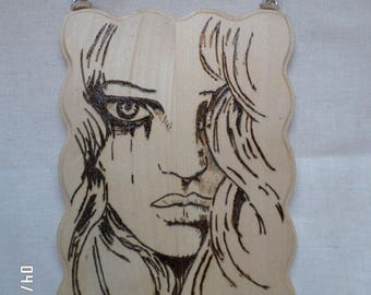 Wood Burned Plaque Girl's Face