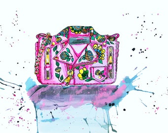 Illustrated pink handbag