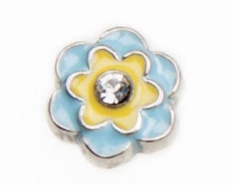Floating Charm Blue Yellow Flower