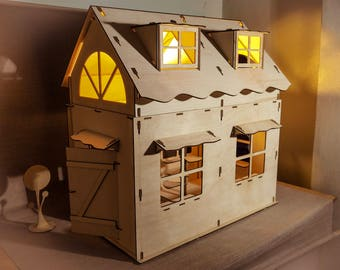 Birch plywood double-storey house with lights