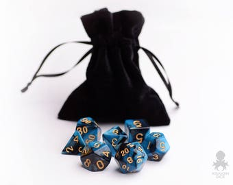 Polyhedral Dice Set with Bag | Sapphire Raven (KD0002)