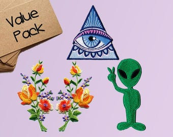 Alien Patches Pyramid Eye Patches Flower Iron On Patch Applique Patches For Jackets