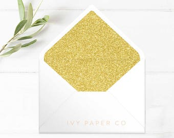 GOLD Glitter Envelope Liners | Wedding Invitations | Glitter | DIY BRIDE | Wedding Stationery | Printable Envelope Liners
